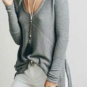 Free people waffle knit frayed thermal